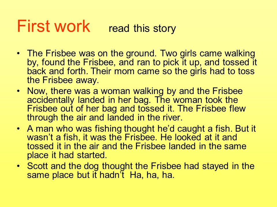 First work read this story