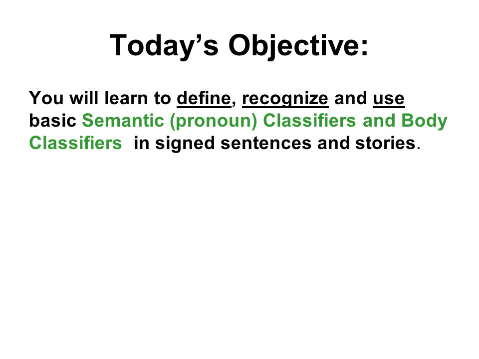 Today's Objective: