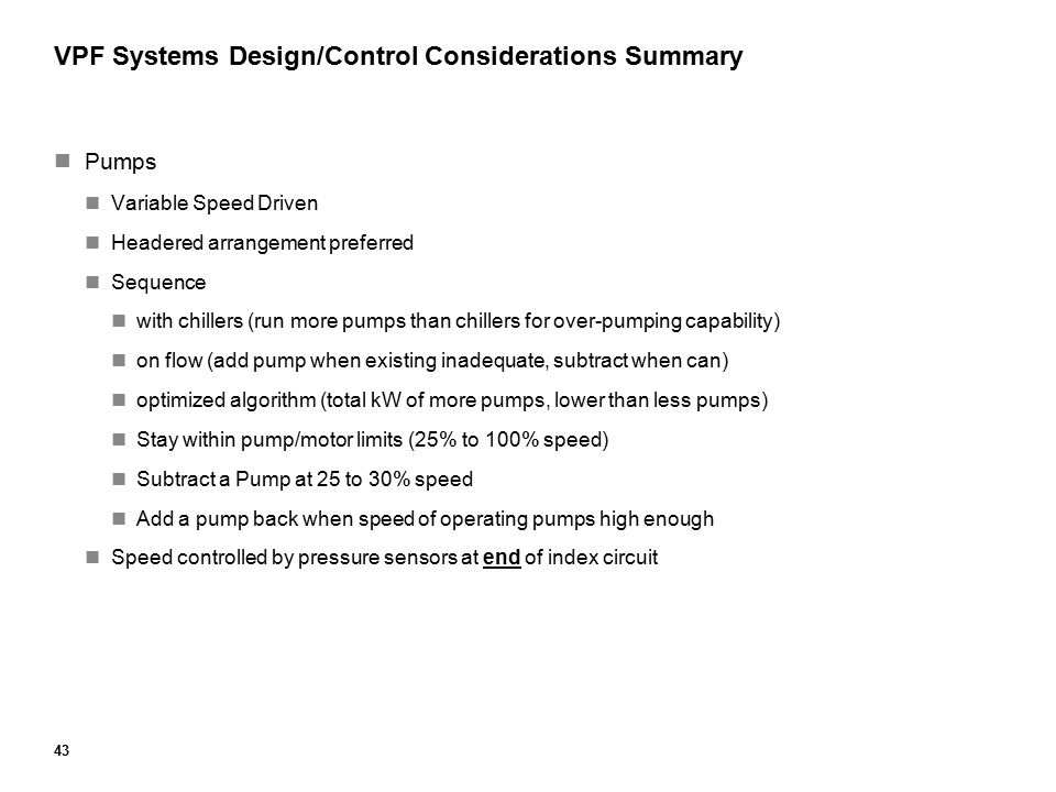 VPF Systems Design/Control Considerations Summary