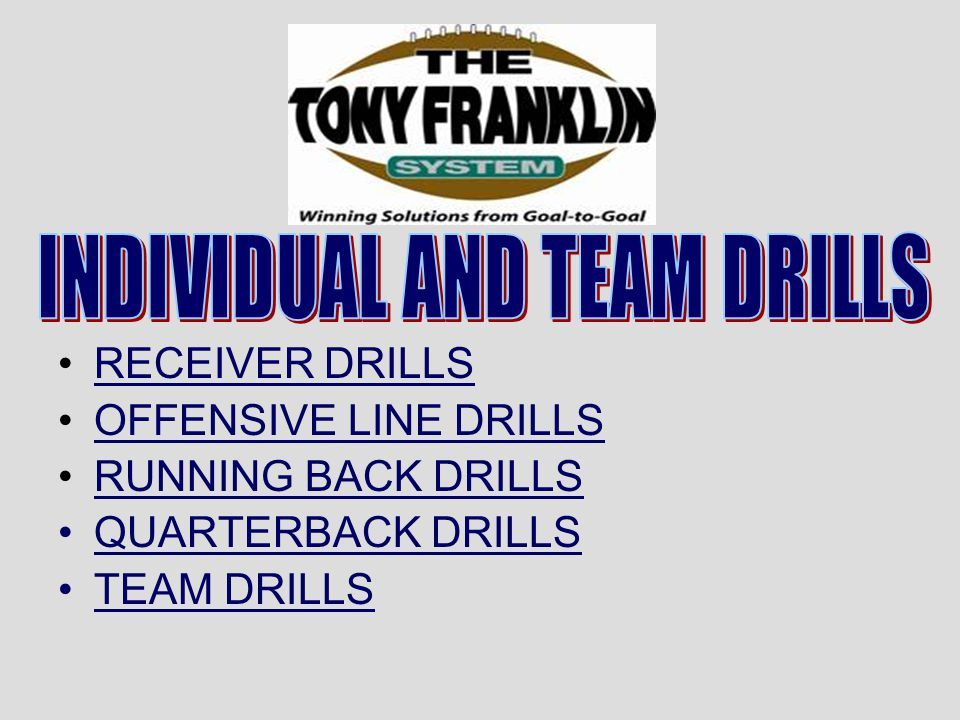 INDIVIDUAL AND TEAM DRILLS