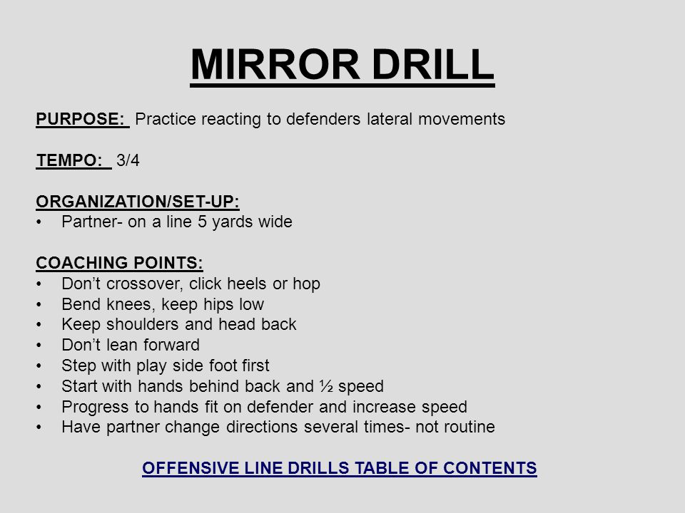 OFFENSIVE LINE DRILLS TABLE OF CONTENTS