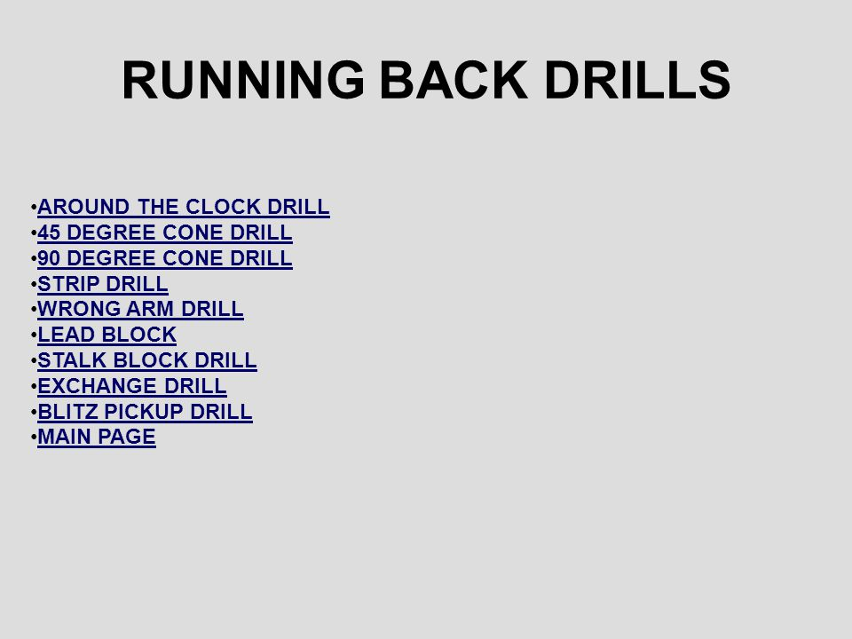 RUNNING BACK DRILLS AROUND THE CLOCK DRILL 45 DEGREE CONE DRILL