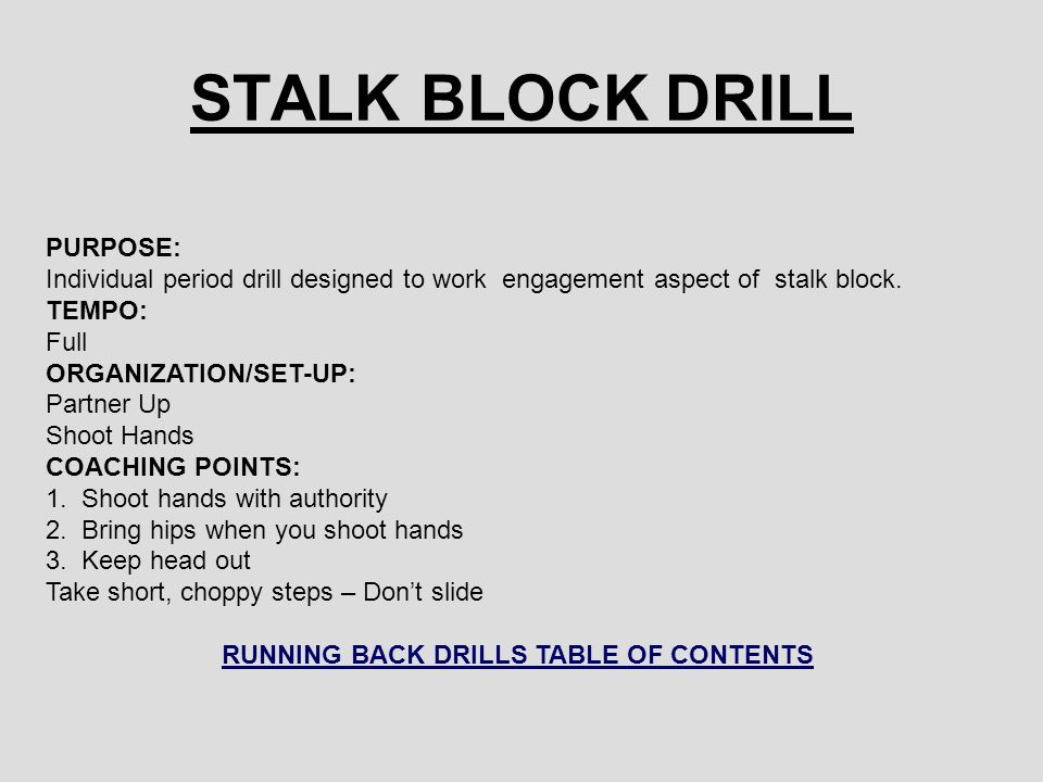 RUNNING BACK DRILLS TABLE OF CONTENTS