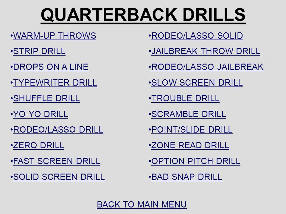 QUARTERBACK DRILLS WARM-UP THROWS STRIP DRILL DROPS ON A LINE