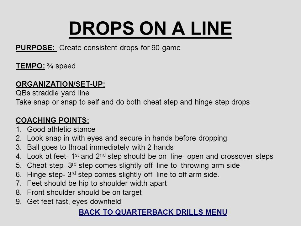 BACK TO QUARTERBACK DRILLS MENU