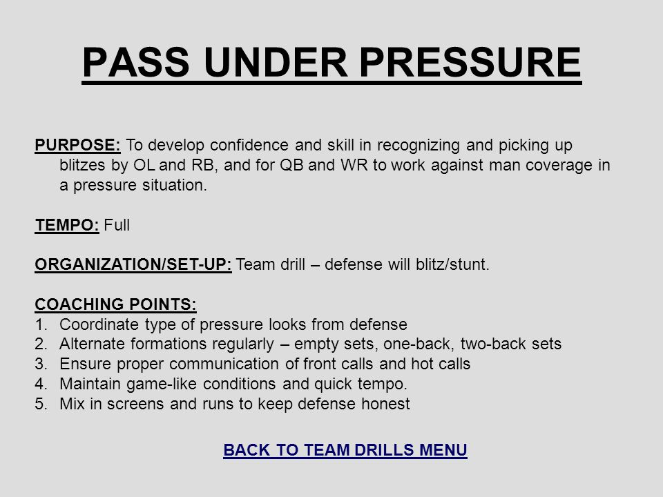 BACK TO TEAM DRILLS MENU