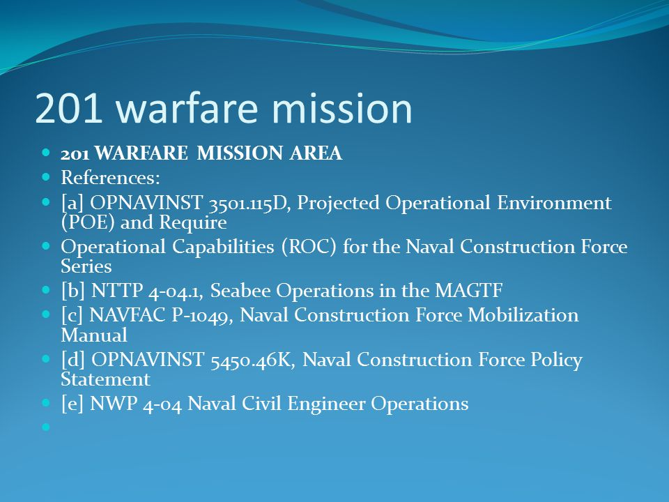 201 warfare mission 201 WARFARE MISSION AREA References:
