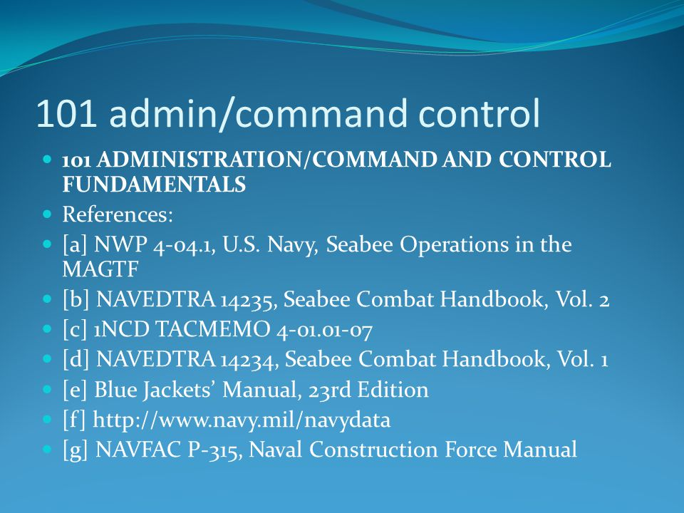 101 admin/command control