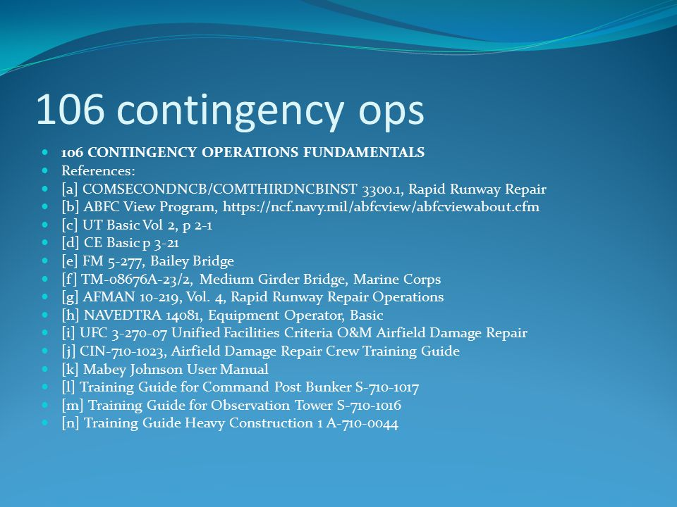 106 contingency ops 106 CONTINGENCY OPERATIONS FUNDAMENTALS