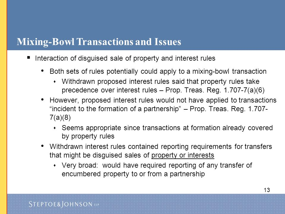 Mixing-Bowl Transactions and Issues