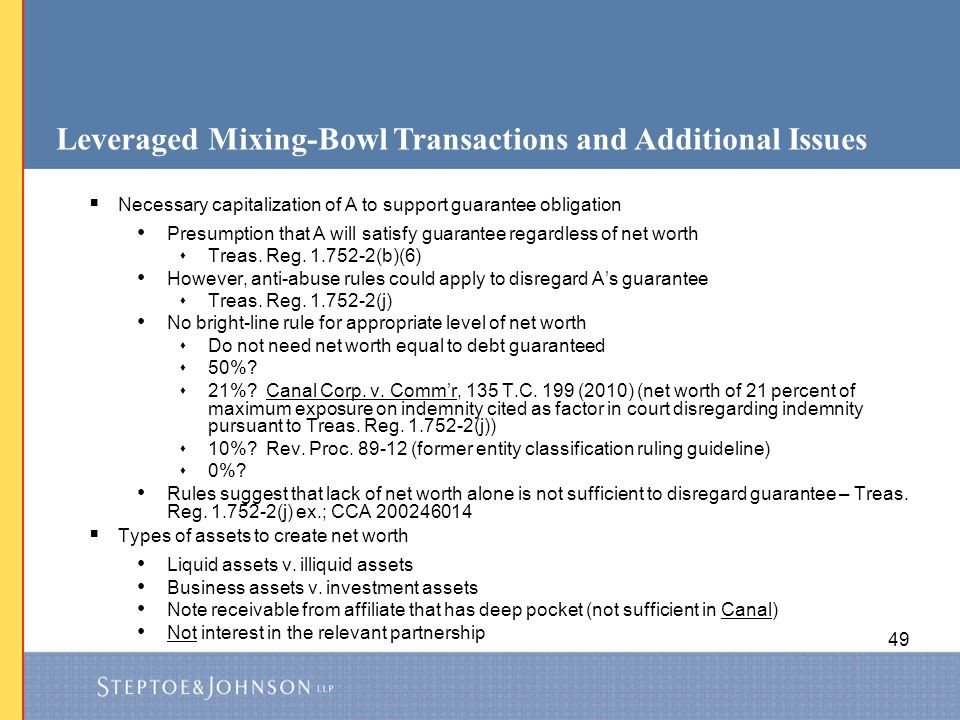 Leveraged Mixing-Bowl Transactions and Additional Issues
