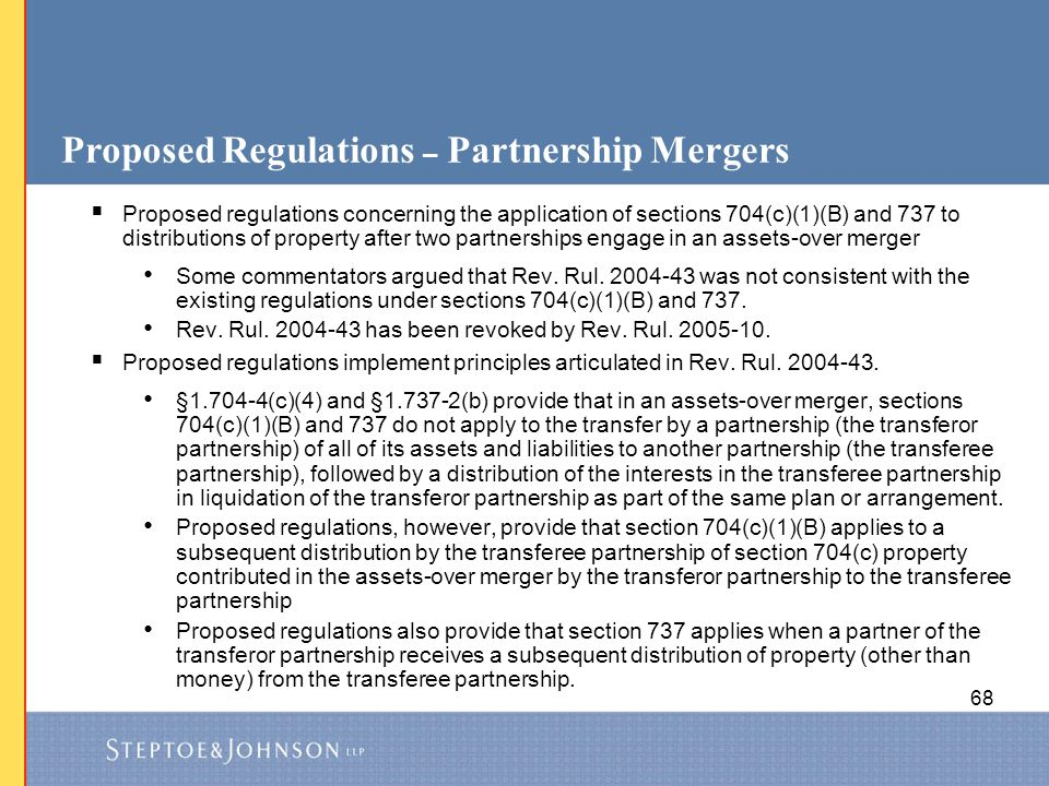 Proposed Regulations – Partnership Mergers