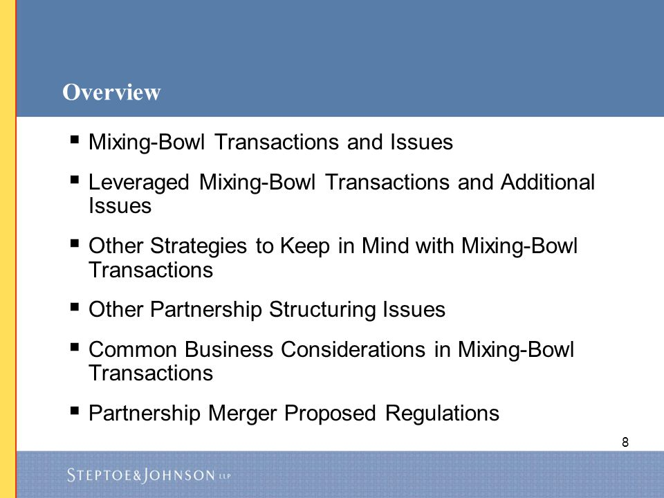 Overview Mixing-Bowl Transactions and Issues