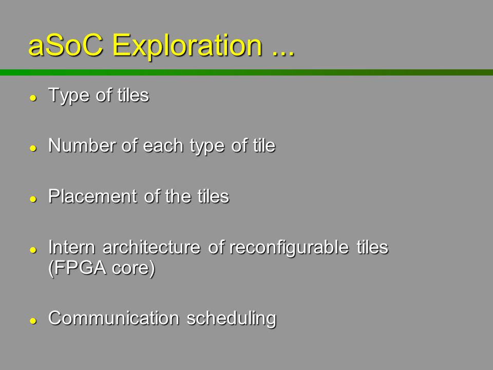 aSoC Exploration ... Type of tiles Number of each type of tile