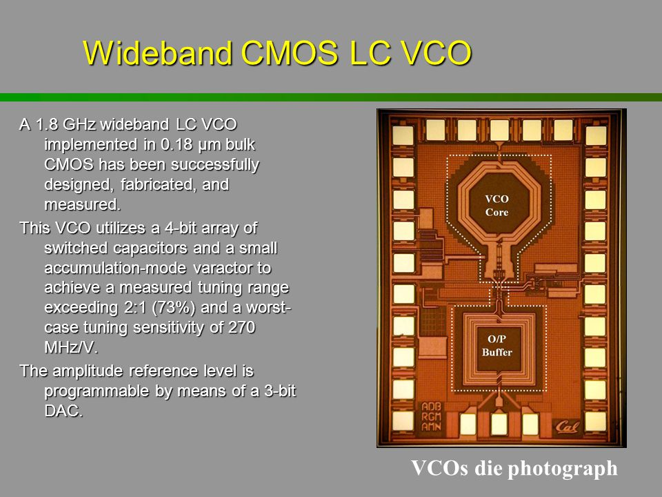 Wideband CMOS LC VCO VCOs die photograph
