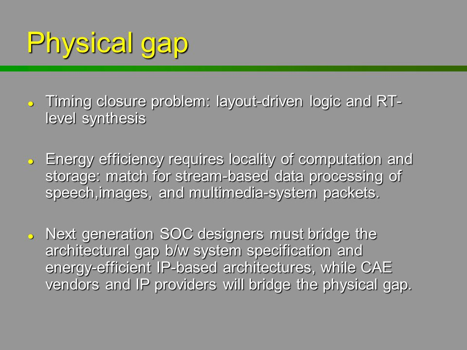 Physical gap Timing closure problem: layout-driven logic and RT-level synthesis.