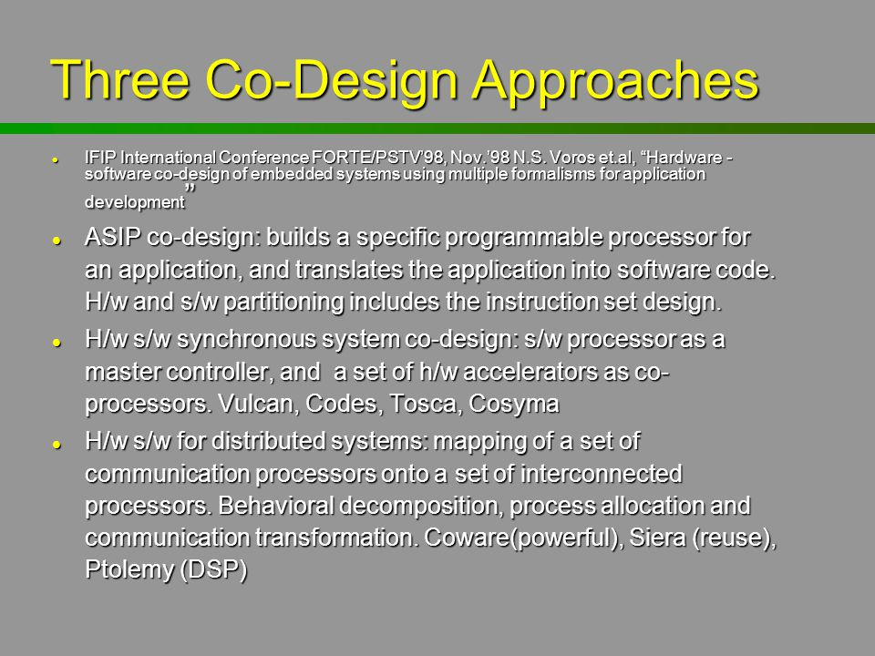 Three Co-Design Approaches