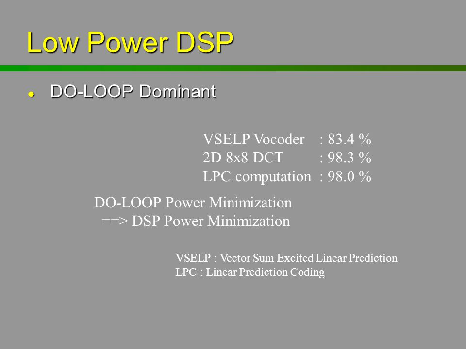 Low Power DSP DO-LOOP Dominant VSELP Vocoder : 83.4 %