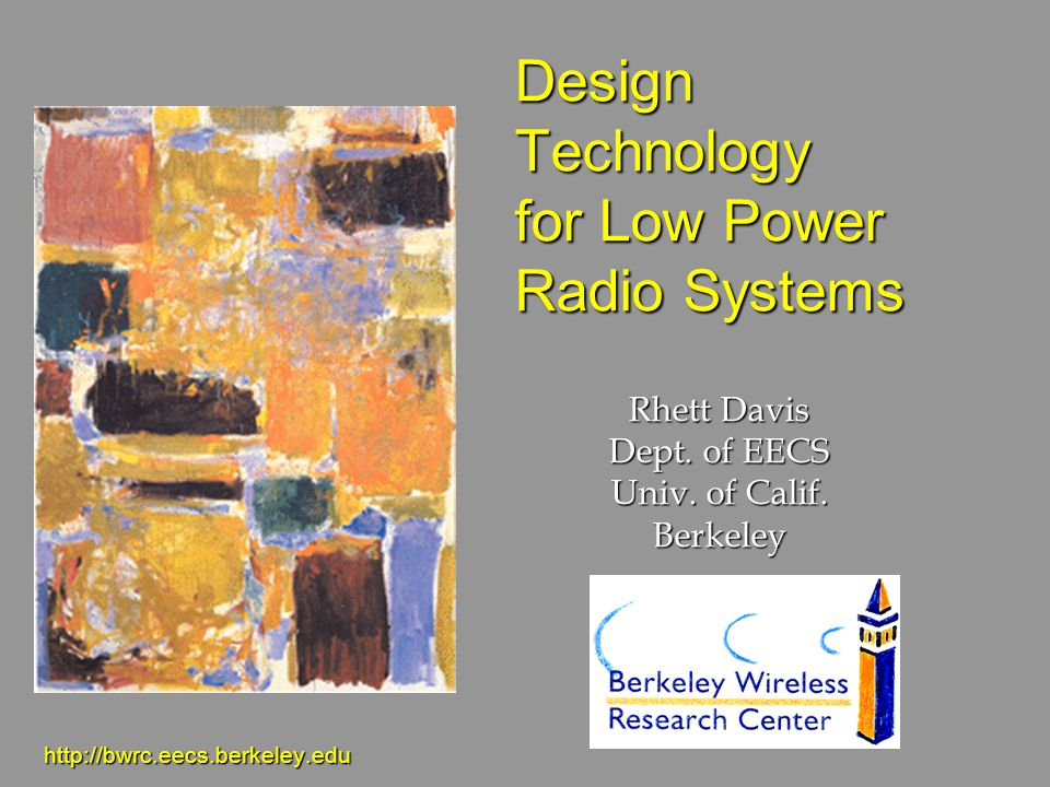 Design Technology for Low Power Radio Systems