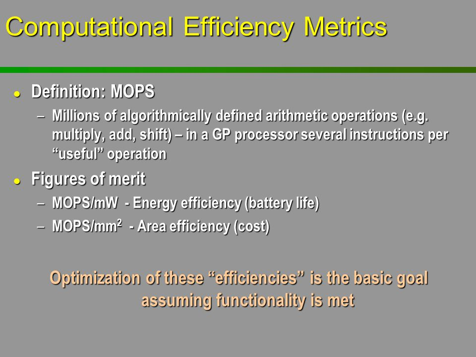 Computational Efficiency Metrics