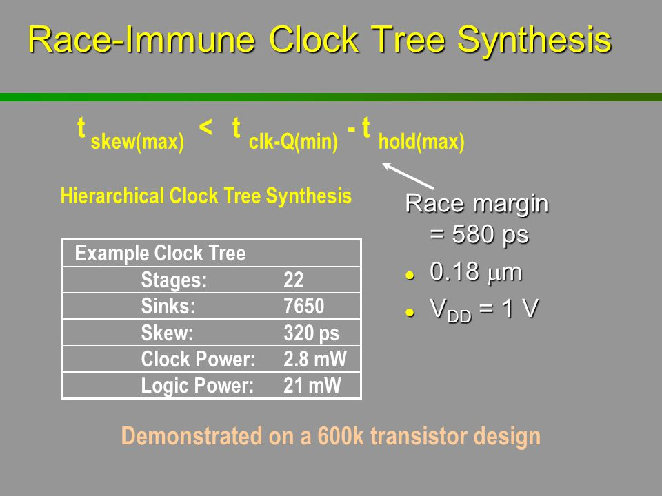 Race-Immune Clock Tree Synthesis