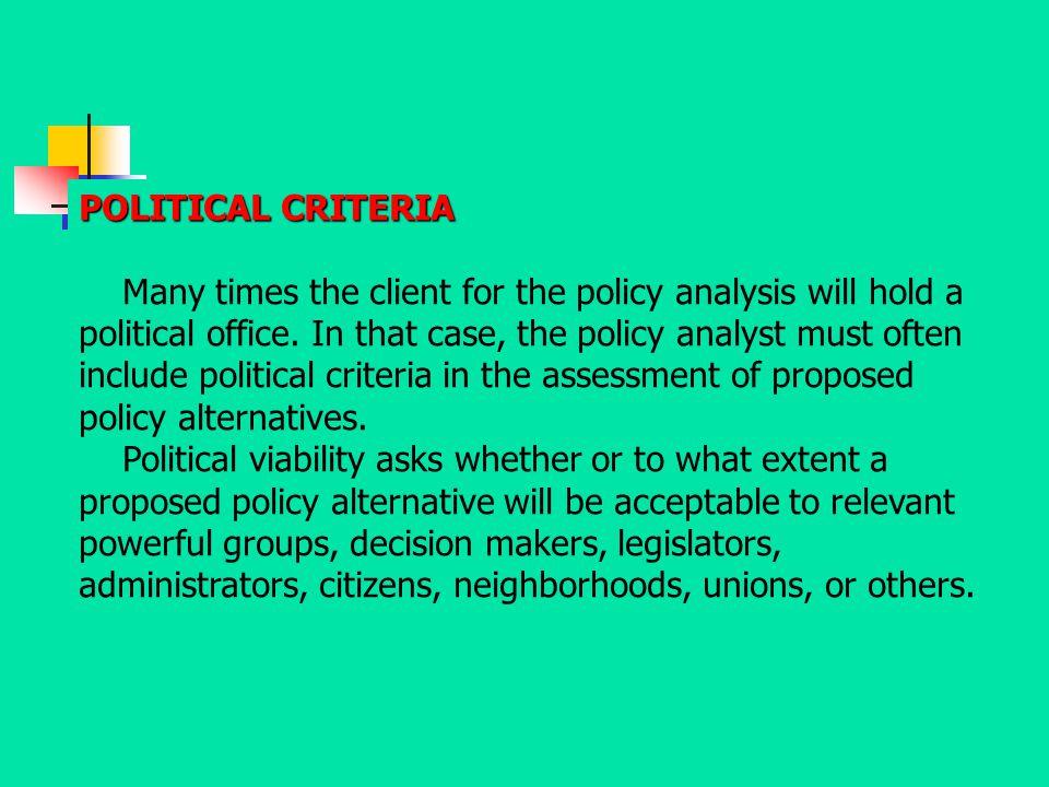 POLITICAL CRITERIA