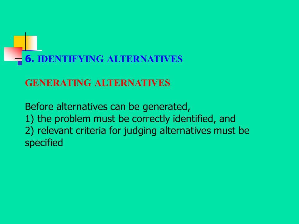 6. IDENTIFYING ALTERNATIVES