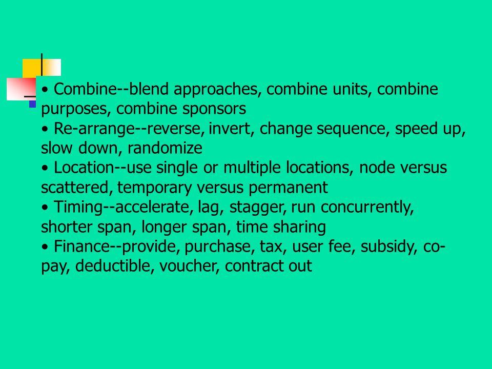 Combine--blend approaches, combine units, combine purposes, combine sponsors