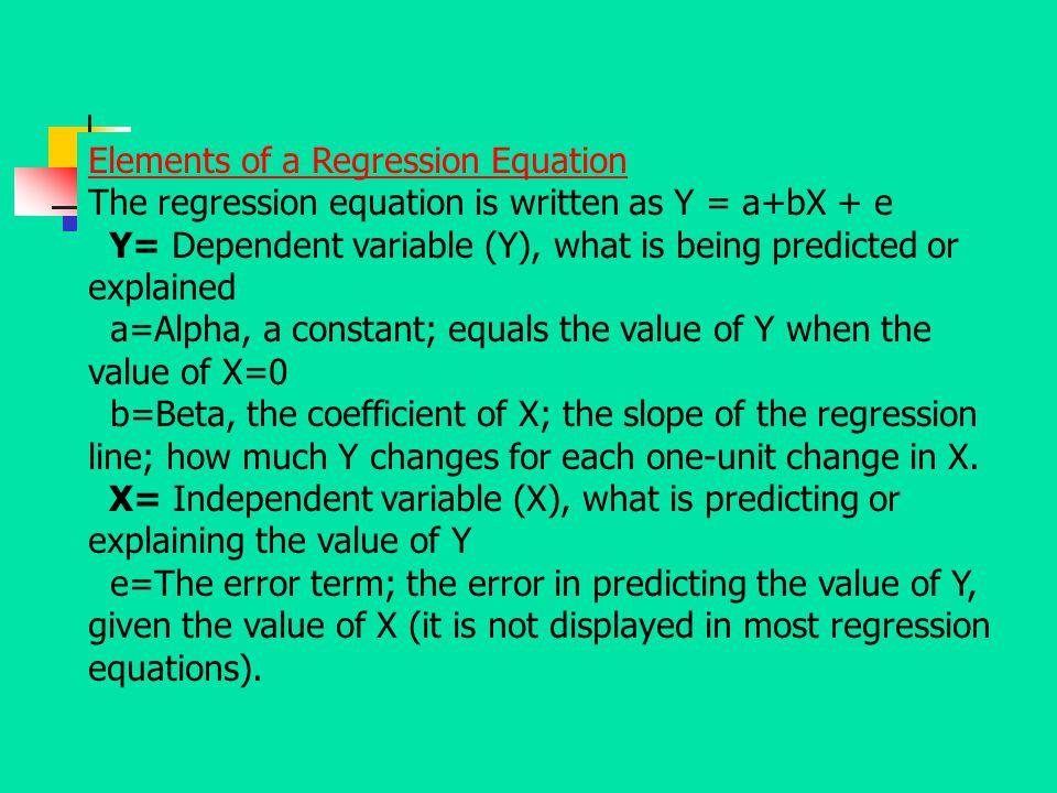 Elements of a Regression Equation