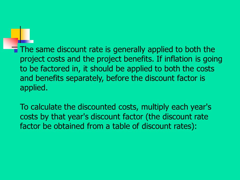 The same discount rate is generally applied to both the project costs and the project benefits. If inflation is going to be factored in, it should be applied to both the costs and benefits separately, before the discount factor is applied.