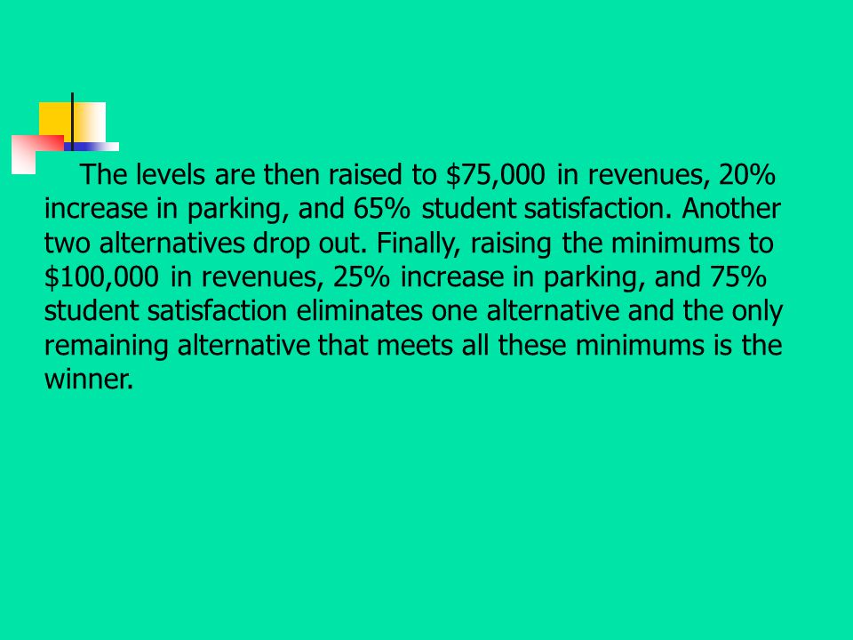 The levels are then raised to $75,000 in revenues, 20% increase in parking, and 65% student satisfaction.