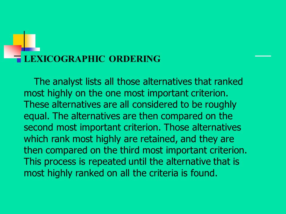 LEXICOGRAPHIC ORDERING
