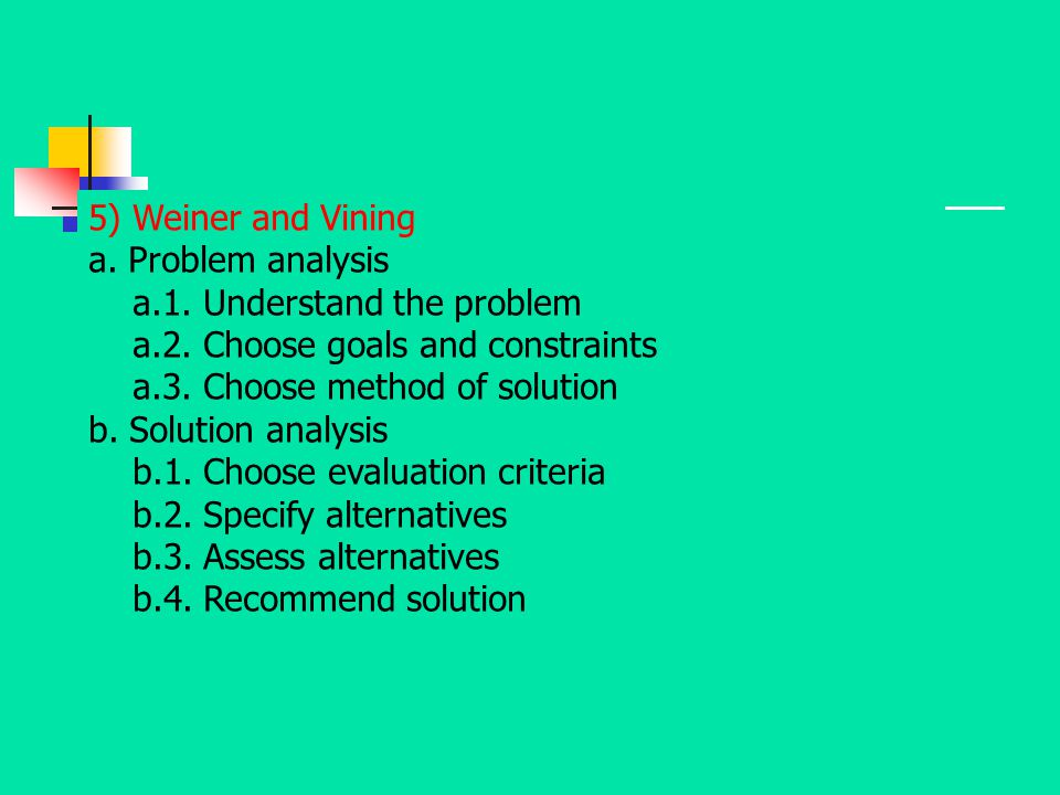 5) Weiner and Vining a. Problem analysis. a.1. Understand the problem. a.2. Choose goals and constraints.