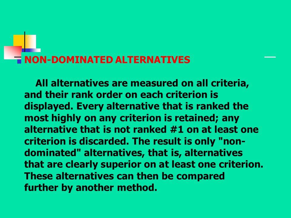 NON-DOMINATED ALTERNATIVES