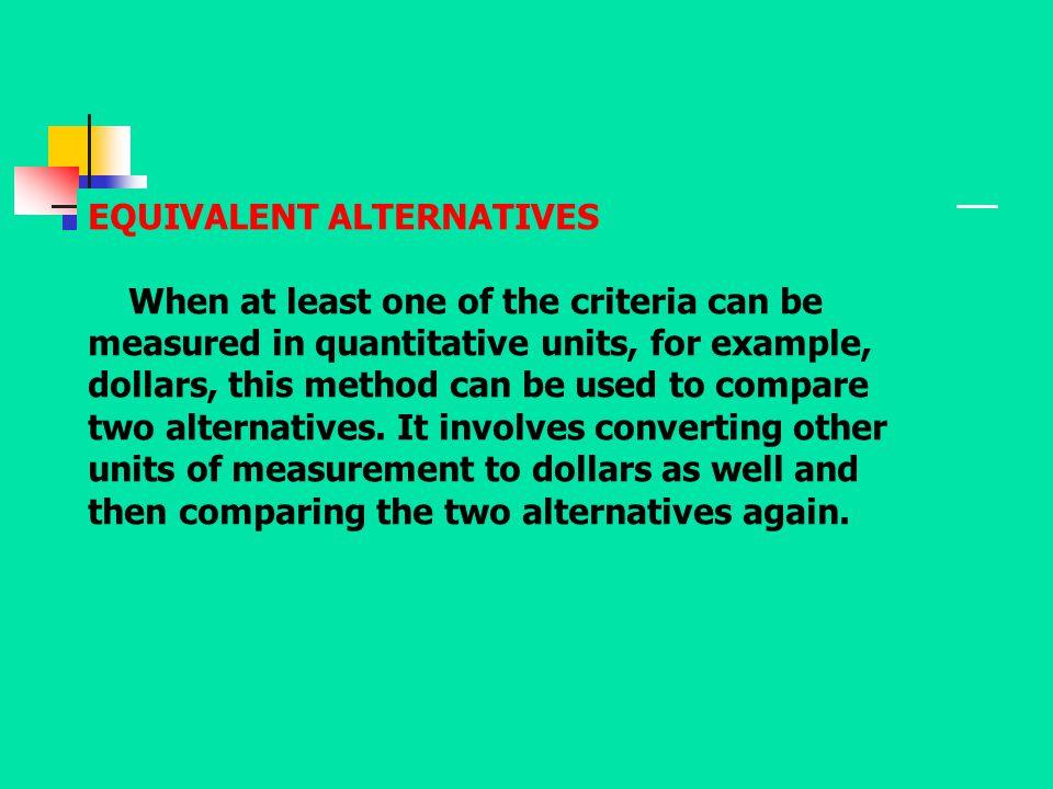 EQUIVALENT ALTERNATIVES
