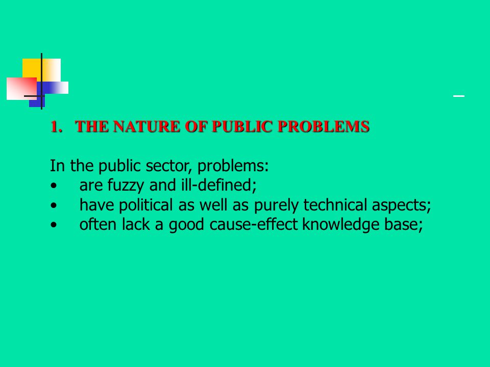 THE NATURE OF PUBLIC PROBLEMS