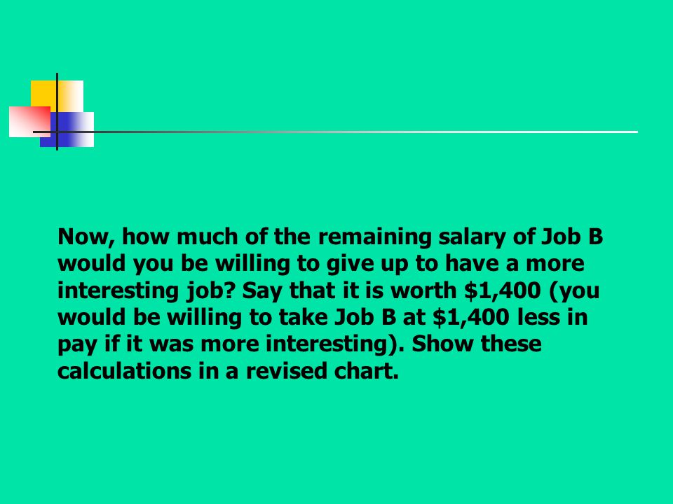 Now, how much of the remaining salary of Job B would you be willing to give up to have a more interesting job.