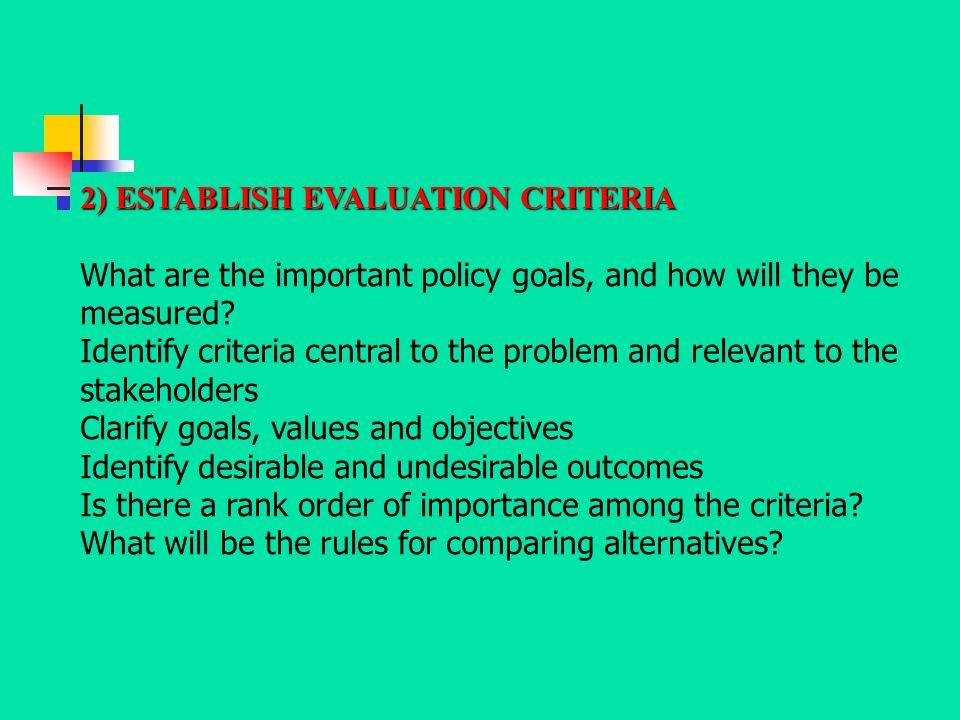 2) ESTABLISH EVALUATION CRITERIA