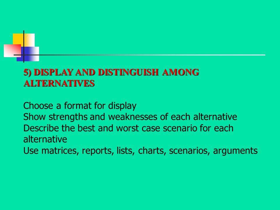 5) DISPLAY AND DISTINGUISH AMONG ALTERNATIVES