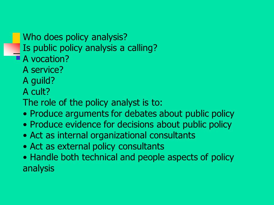 Who does policy analysis