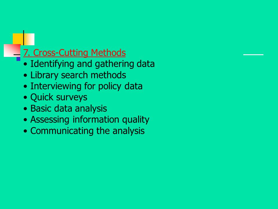 7. Cross-Cutting Methods