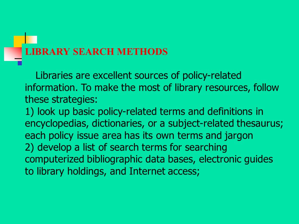 LIBRARY SEARCH METHODS