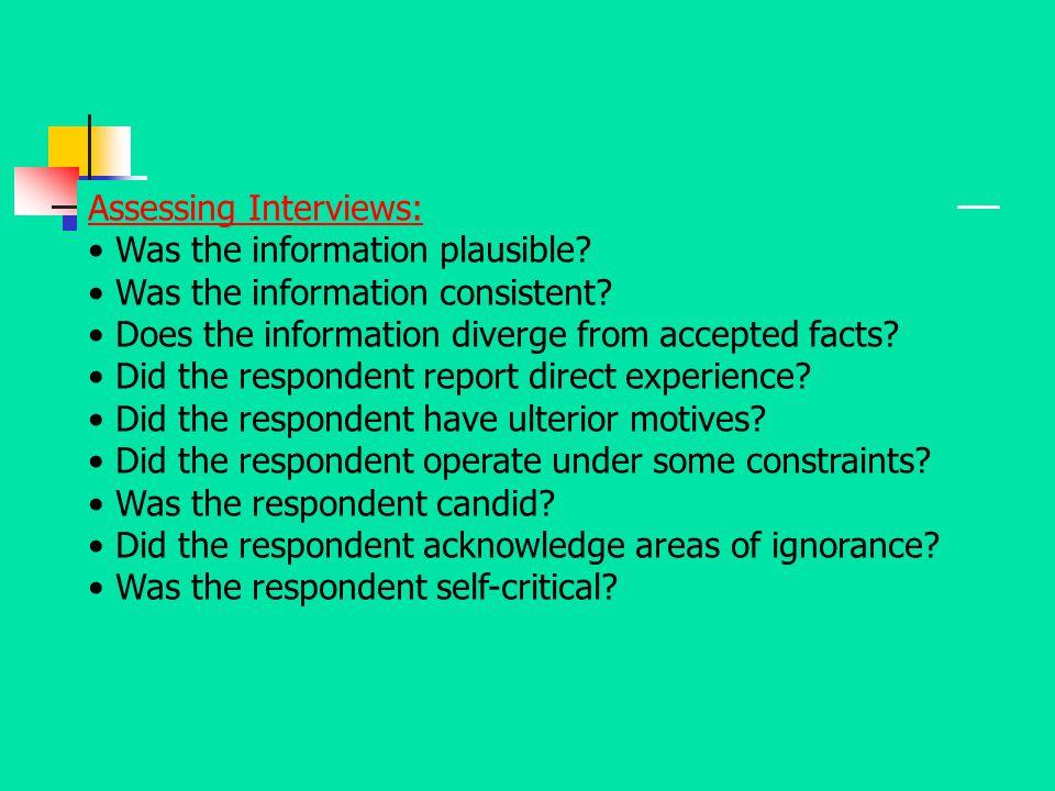Assessing Interviews: