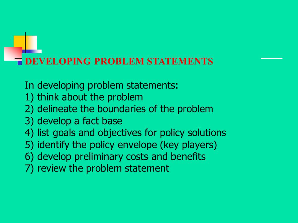 DEVELOPING PROBLEM STATEMENTS