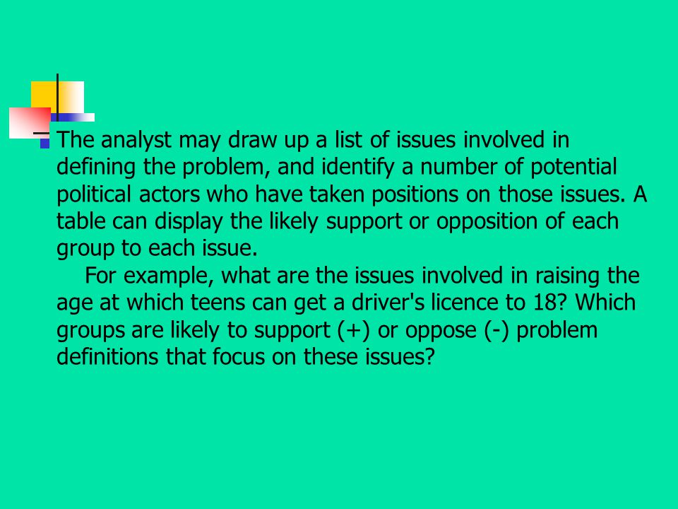 The analyst may draw up a list of issues involved in defining the problem, and identify a number of potential political actors who have taken positions on those issues. A table can display the likely support or opposition of each group to each issue.