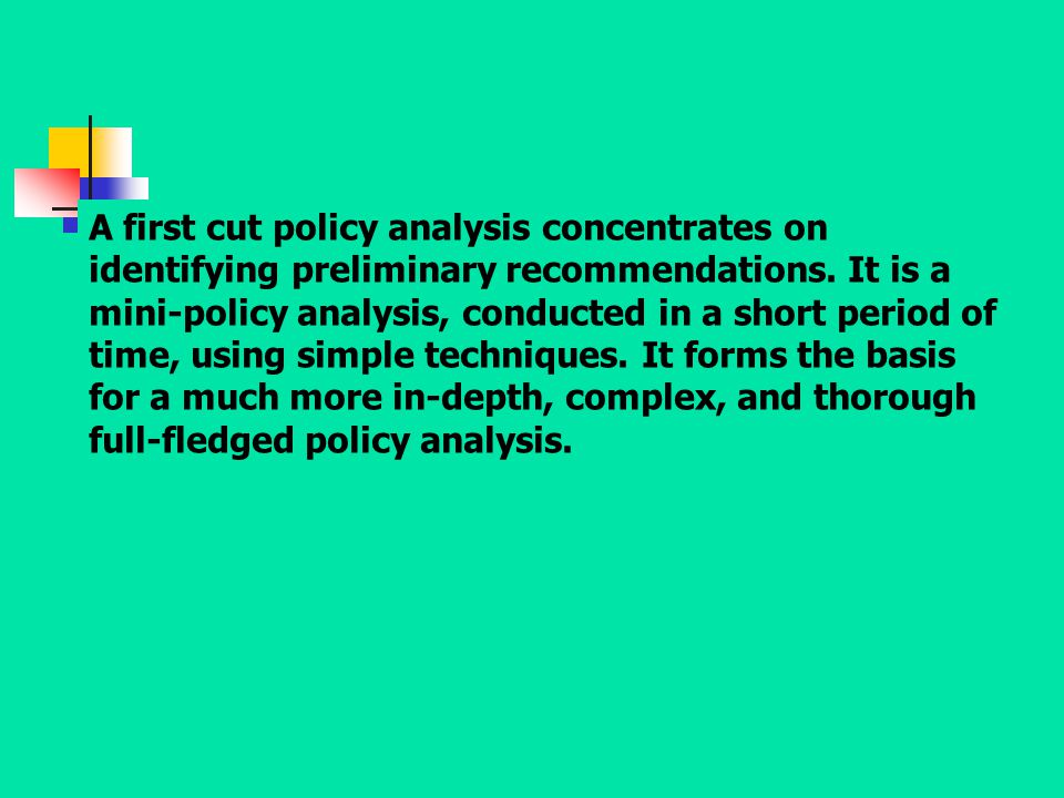A first cut policy analysis concentrates on identifying preliminary recommendations.