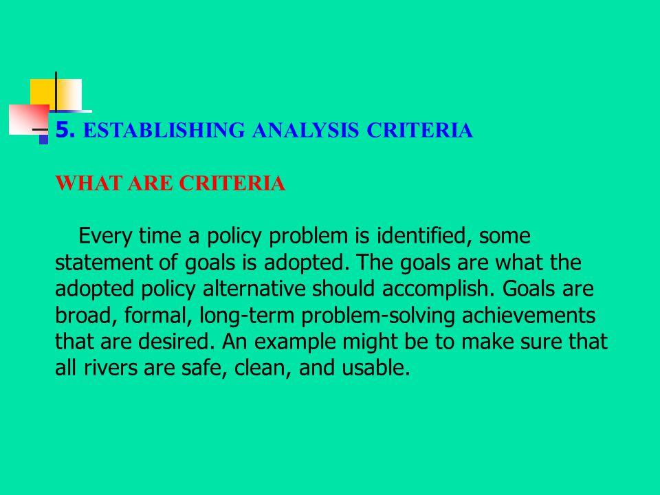 5. ESTABLISHING ANALYSIS CRITERIA
