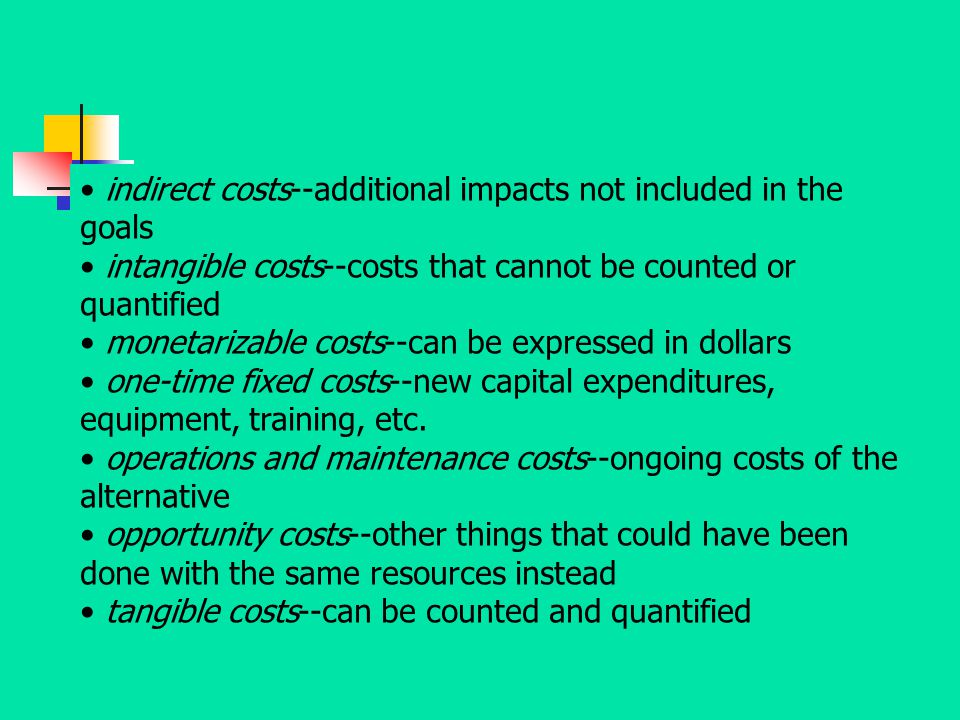 indirect costs--additional impacts not included in the goals
