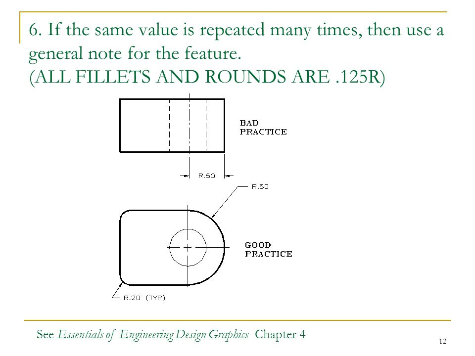6. If the same value is repeated many times, then use a general note for the feature. (ALL FILLETS AND ROUNDS ARE .125R)