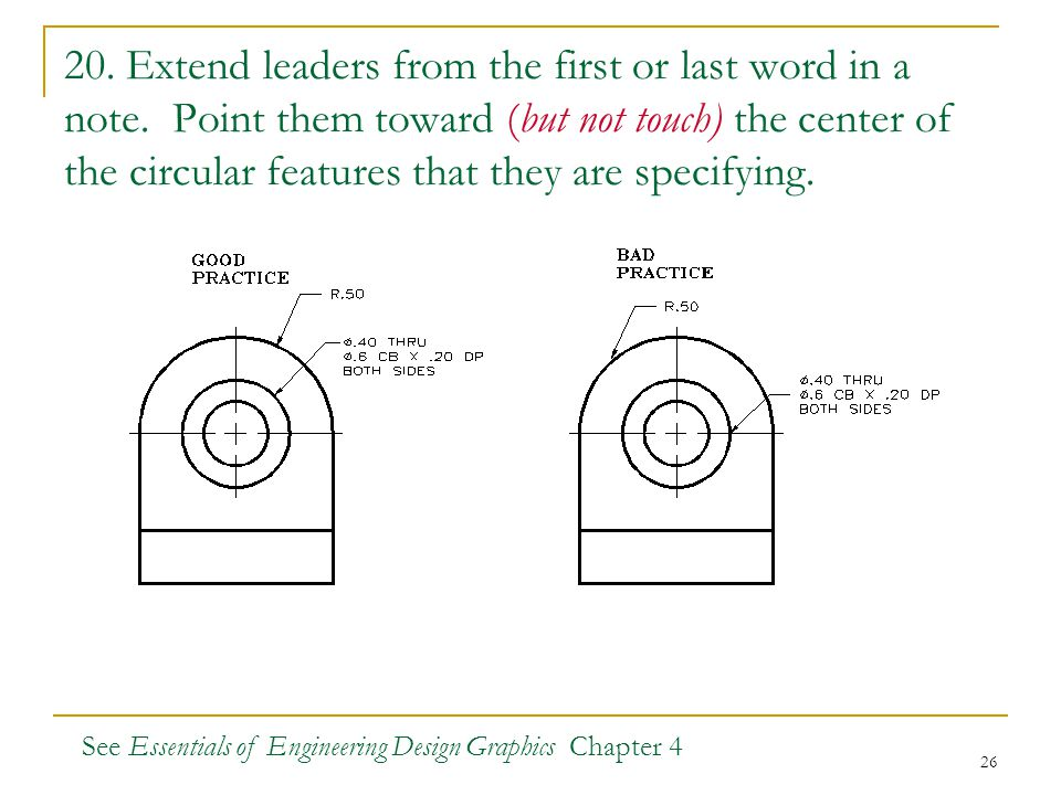 20. Extend leaders from the first or last word in a note